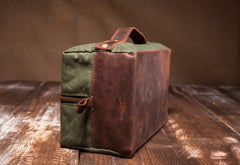 Men's Waxed Canvas Leather Dopp Kit - Green Canvas with Brown Leather by Tram 21 on Jetset Times SHOP
