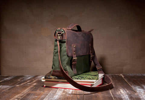 Laptop Messenger Bag Green- Waxed Canvas Leather in Various Sizes