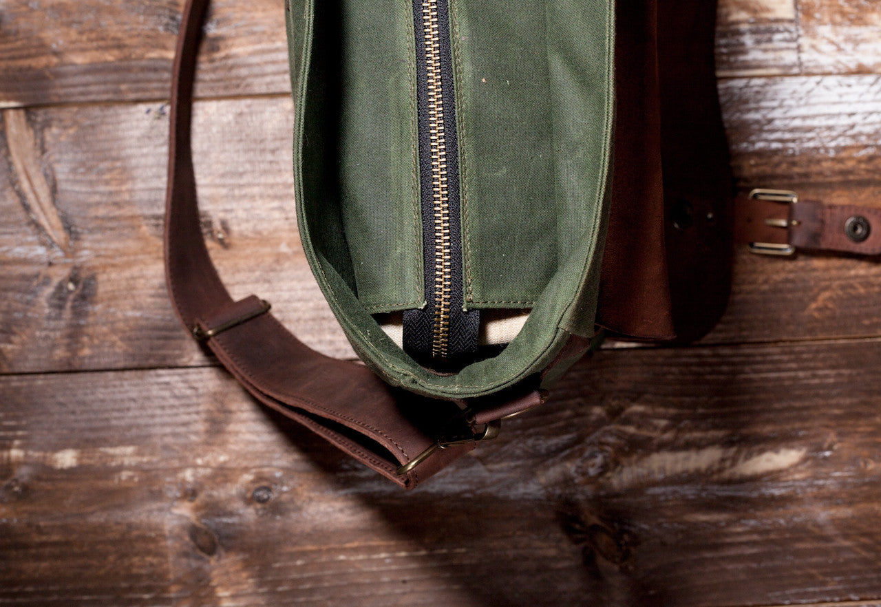 Waxed Canvas Leather Laptop Messenger Bag for Men and Women - Green Canvas with Brown Leather by Tram 21 on Jetset Times SHOP
