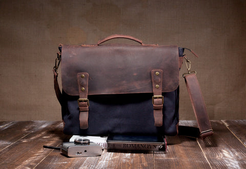 Laptop Messenger Bag Navy Blue- Waxed Canvas Leather in Various Sizes