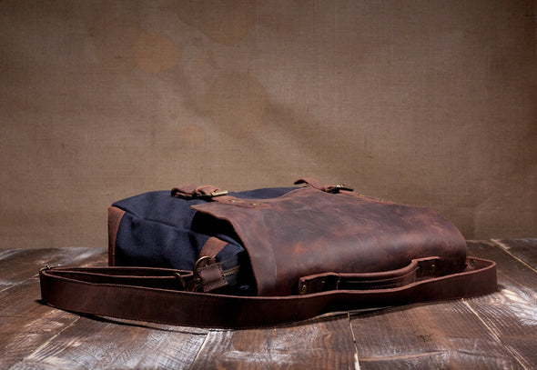 Waxed Canvas Leather Laptop Messenger Bag for Men and Women - Navy Blue Canvas with Brown Leather by Tram 21 on Jetset Times SHOP