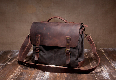 Laptop Messenger Bag Dark Chocolate- Waxed Canvas Leather in Various Sizes
