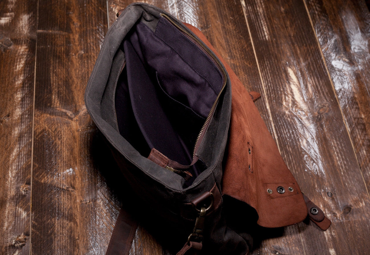 Waxed Canvas Leather Laptop Messenger Bag for Men and Women - Gray Canvas with Brown Leather by Tram 21 on Jetset Times SHOP