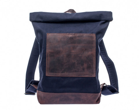 Waxed Canvas Leather Roll Top Backpack for Men & Women - Navy Blue w/ Brown