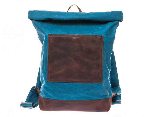 Waxed Canvas Leather Roll Top Backpack for Men & Women - Blue w/ Brown