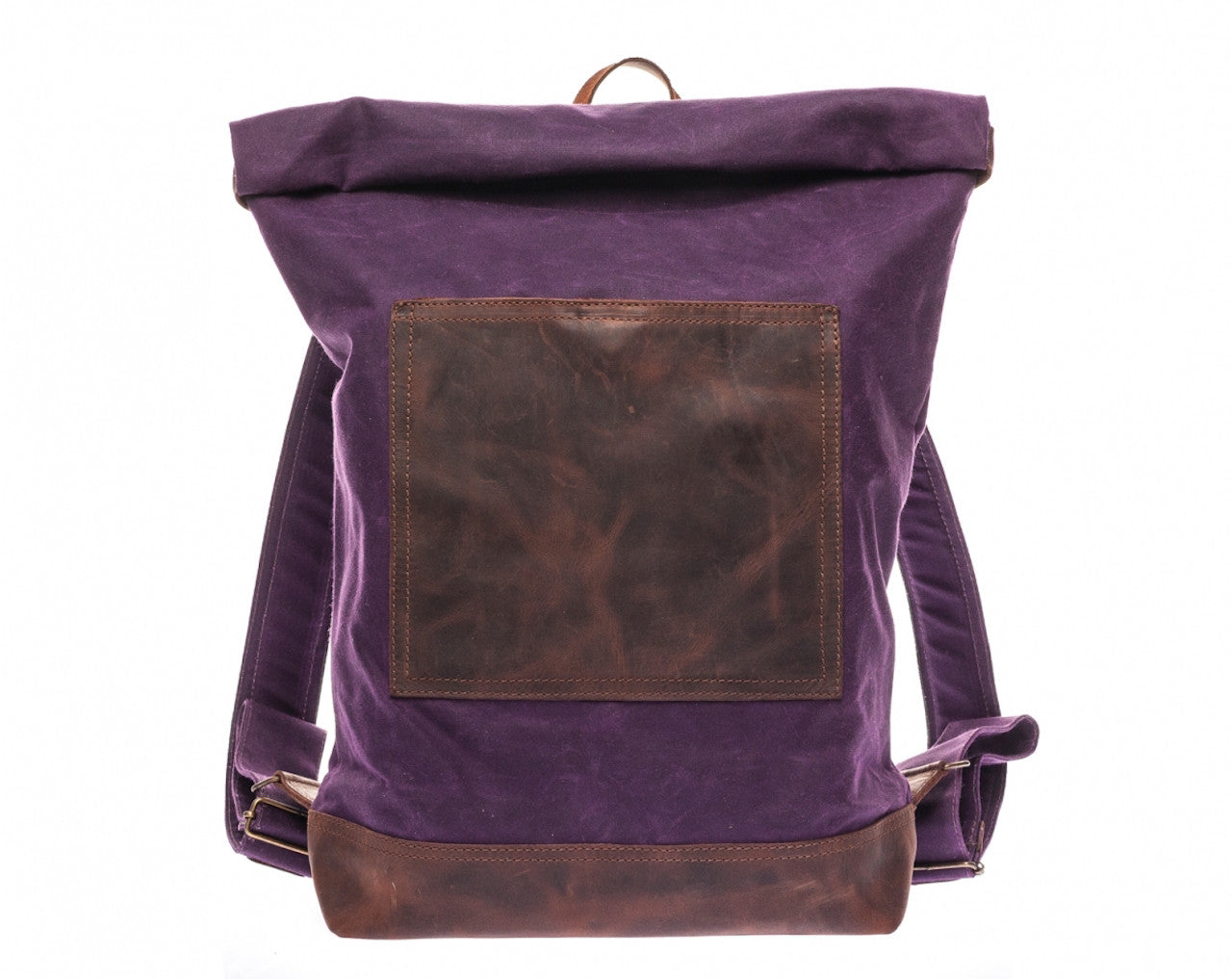 Waxed Canvas Leather Roll Top Backpack for Men & Women - Purple Canvas with Brown Leather by Tram 21 on Jetset Times SHOP