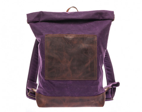 Roll Top Backpack Purple Plum- Waxed Canvas Leather