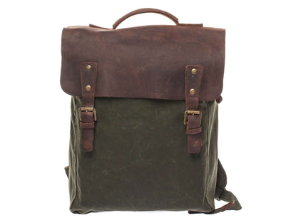 Leather Flap Backpack Green