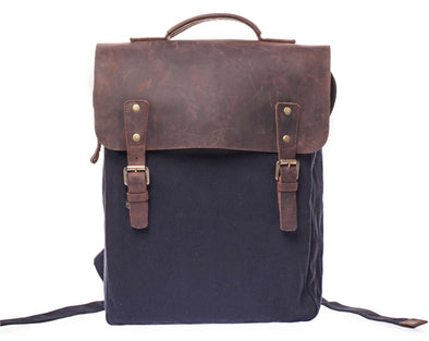 Leather Flap Backpack Navy Blue