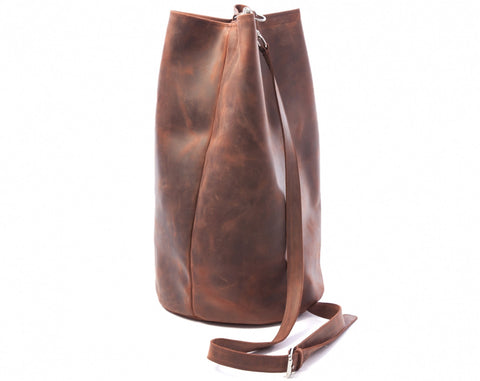 Saddle Leather Duffel Bag- Cognac Brown