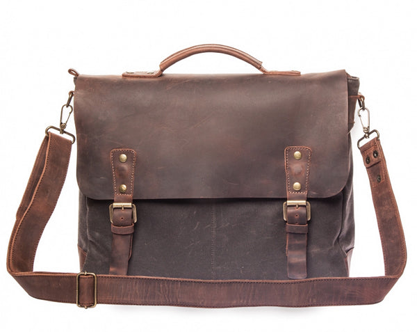 Waxed Canvas Leather Laptop Messenger Bag for Men & Women - Gray w/ Brown in Various Sizes
