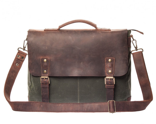 Waxed Canvas Leather Laptop Messenger Bag for Men & Women - Green w/ Brown in Various Sizes