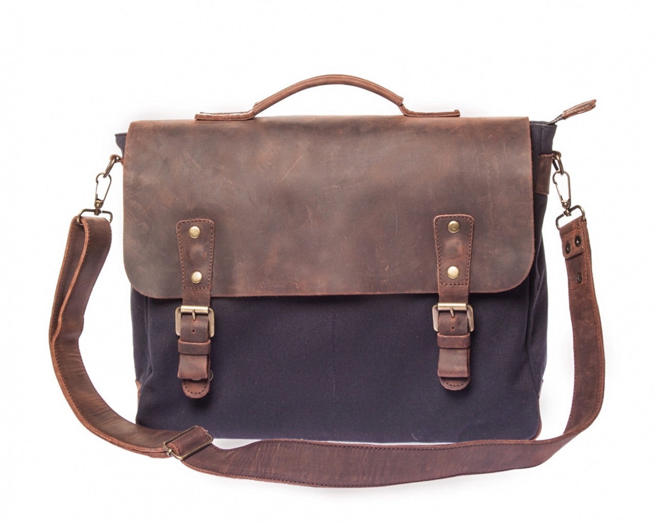 Waxed Canvas Leather Laptop Messenger Bag for Men and Women - Navy Blue  Canvas with Brown 91bc9c31bd