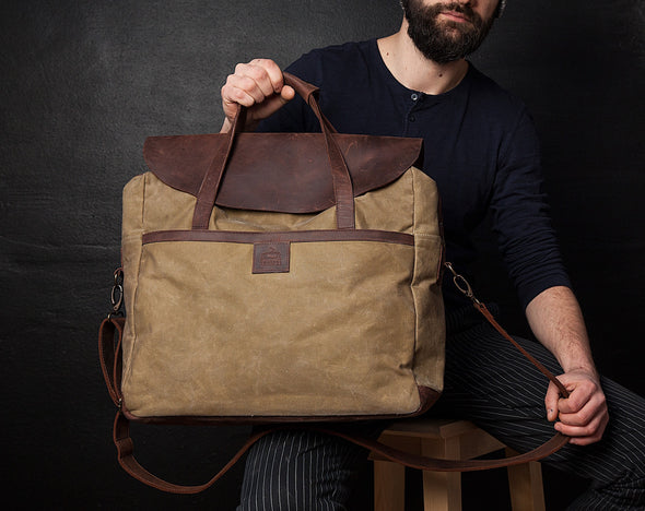 "17"" MacBook Pro Waxed Canvas Leather Messenger Bag for Men and Women - Tan Canvas with Brown Leather by Tram 21 on Jetset Times SHOP"