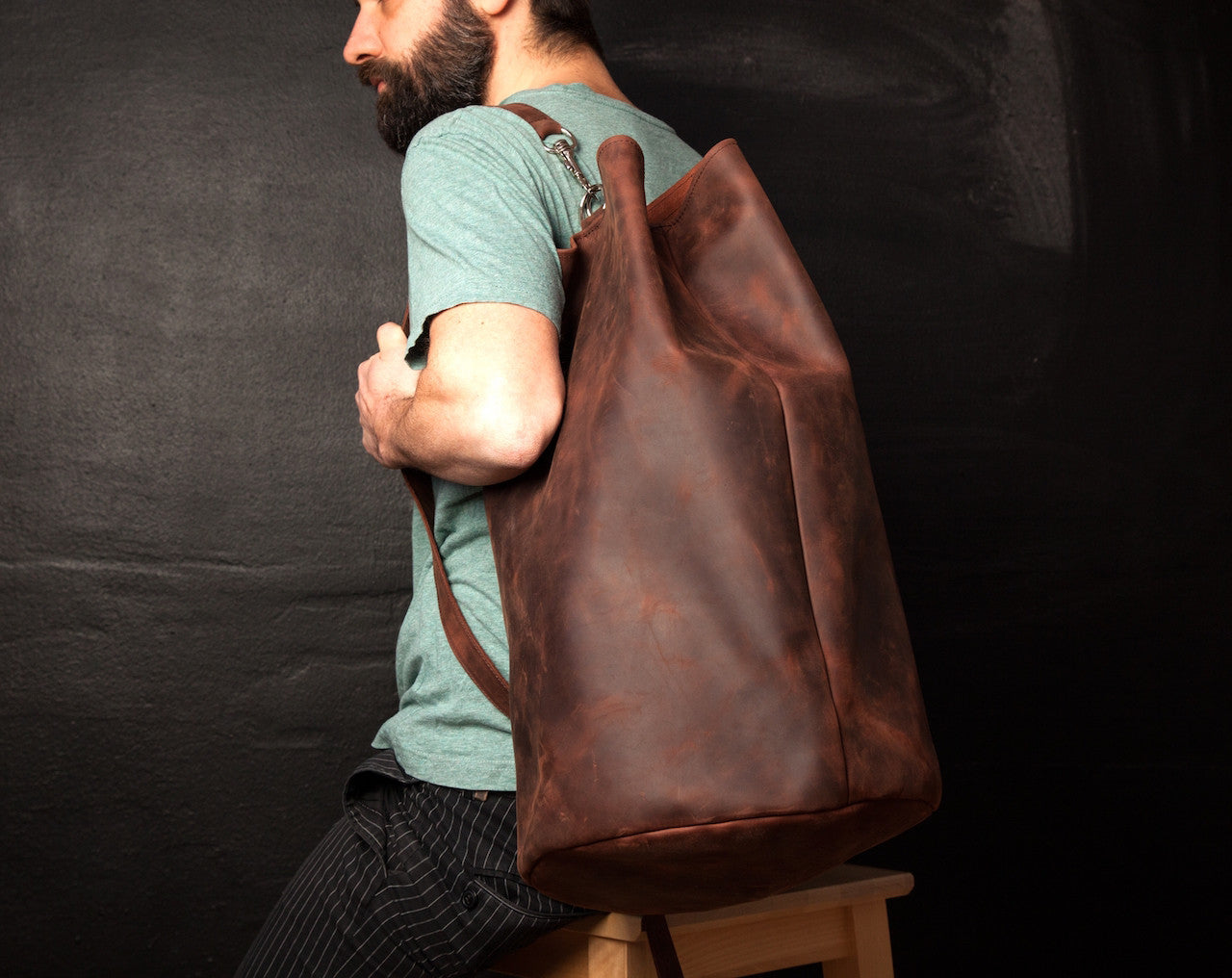 Leather Weekender Duffle Bag for Men and Women - Cognac Brown by Tram 21 on Jetset Times SHOP