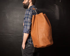 Leather Weekender Duffle Bag for Men and Women - Brown by Tram 21 on Jetset Times SHOP