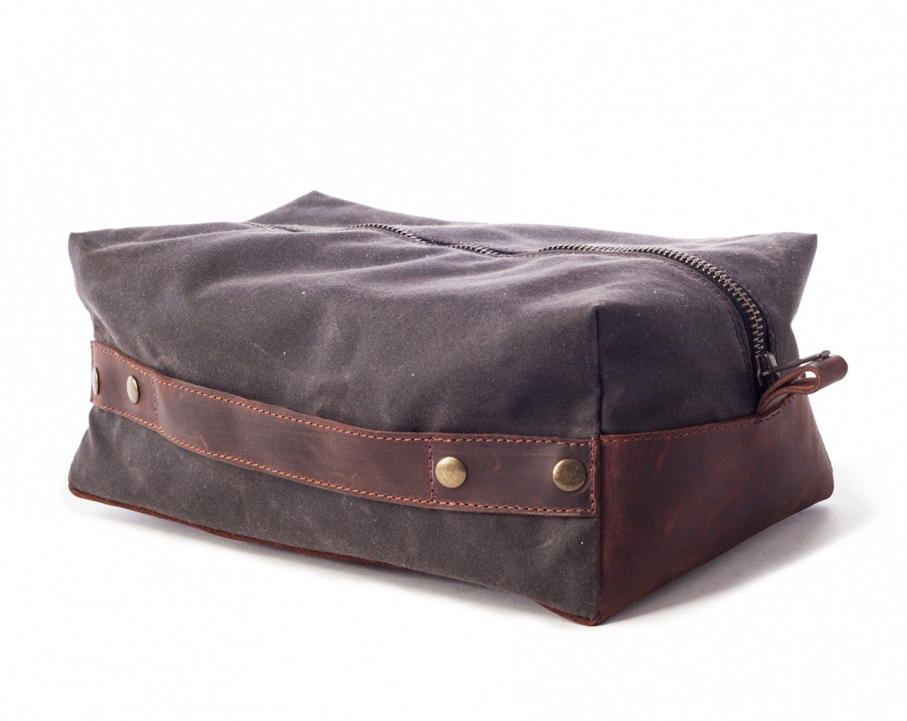 264ae25ac848 Men s Waxed Canvas Leather Dopp Kit - Gray Canvas with Brown Leather by  Tram 21 on