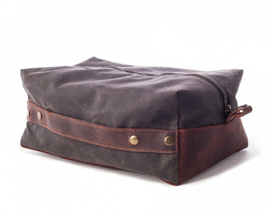 Men's Waxed Canvas Leather Dopp Kit - Gray Canvas with Brown Leather by Tram 21 on Jetset Times SHOP