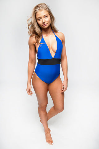 Natalie in One Piece Bikini Swimsuit (Royal/Black)