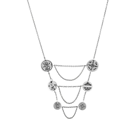 Women's Sami Breastplate Coin Necklace - Silver