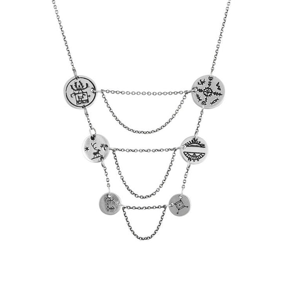 Women's Sami Breastplate Coin Necklace - Silver by No 13 on Jetset Times SHOP