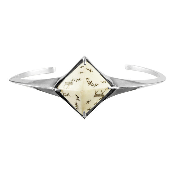 Women's Sami Pyramid Reindeer Bangle - Silver by No 13 on Jetset Times SHOP