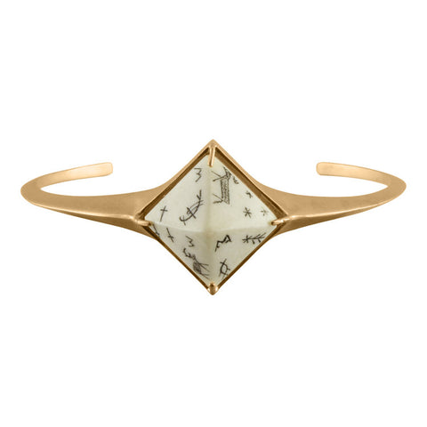 Women's Sami Pyramid Reindeer Bangle - Sandblasted Gold Vermeil
