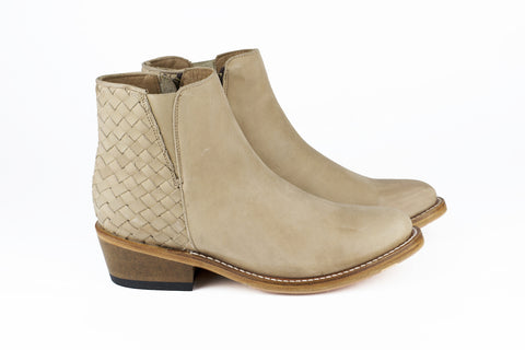 Women's Beige Leather Ankle Boots - TAPALPA