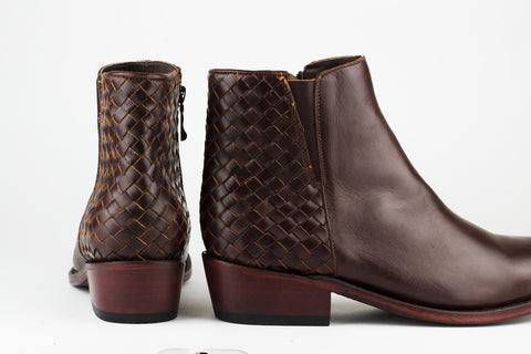 Women's Burgundy Leather Ankle Boots - TAPALPA