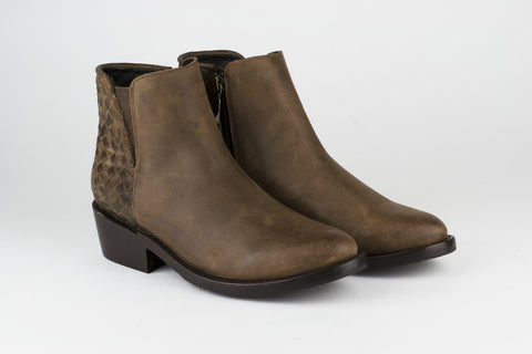 Women's Brown Leather Ankle Boots - TAPALPA