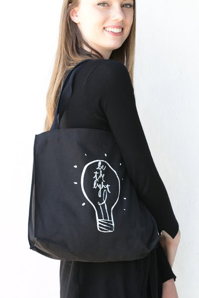 Be the Light Tote- White Text