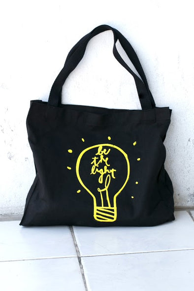 Be the Light Tote- Yellow Text