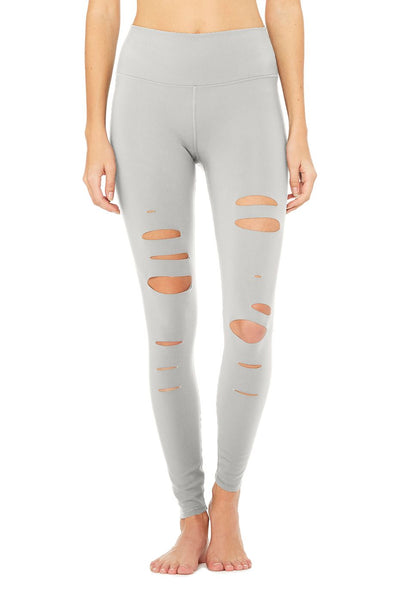 ALO HIGH WAISTED RIPPED WARRIOR LEGGING ALLOY