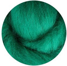 Green NZ Corriedale Wool Roving - Happy Hedgehog Post