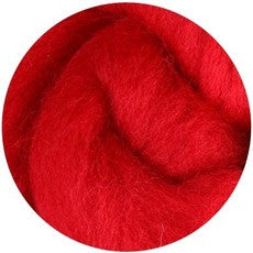 Red NZ Corriedale Wool Roving - Happy Hedgehog Post