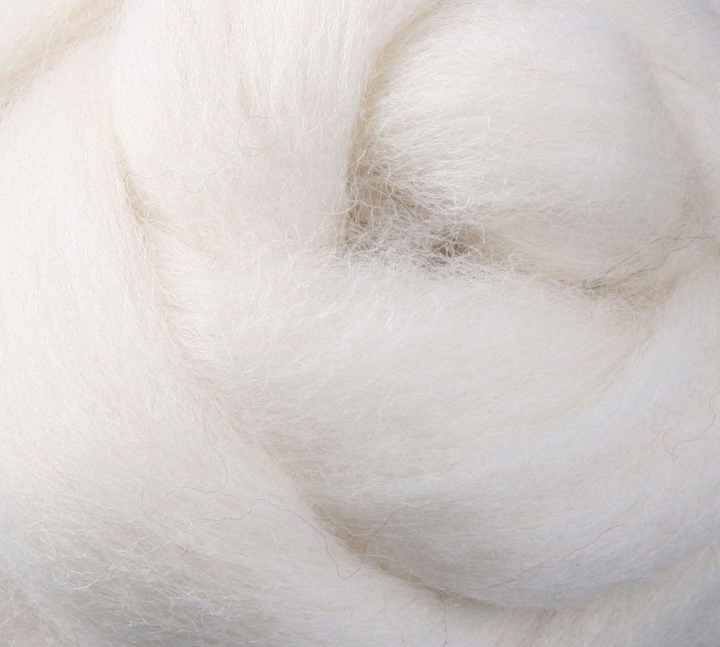 White NZ Corriedale Wool Roving