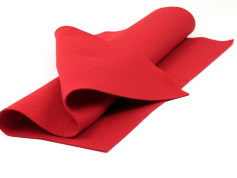 Red Merino Wool Felt Sheet