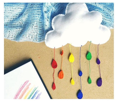 DIY Felt Rainbow Cloud Project - waldorf crafts handwork- homeschool- monthly subscription box