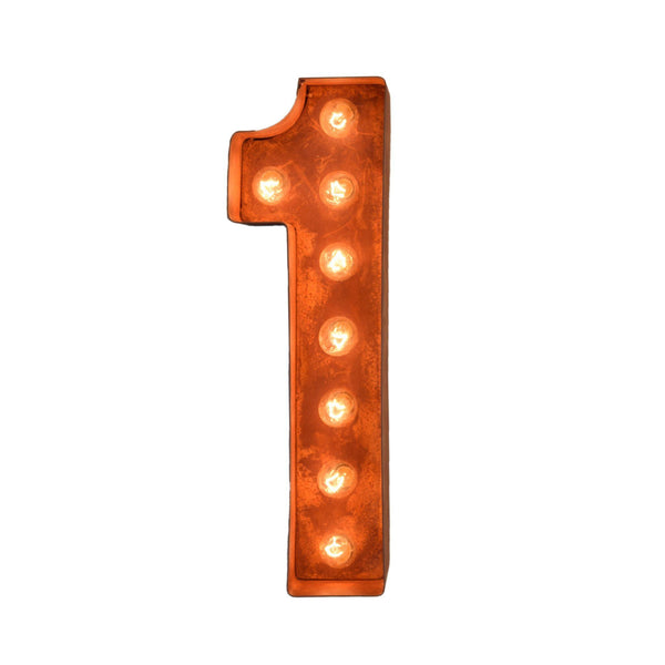 "12"" Number Marquee Lights - 12"" Number 1 (One) Sign Vintage Marquee Lights"