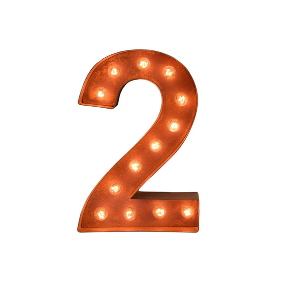 "12"" Number Marquee Lights - 12"" Number 2 (Two) Sign Vintage Marquee Lights"