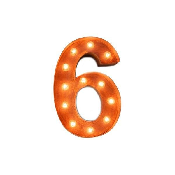 "12"" Number Marquee Lights - 12"" Number 6 (Six) Sign Vintage Marquee Lights"