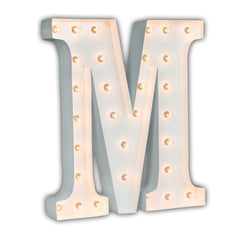 "24"" Marquee Letter Lights - 24"" Letter M Lighted Marquee Letters (White Gloss)"