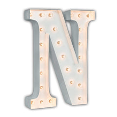 "24"" Marquee Letter Lights - 24"" Letter N Lighted Marquee Letters (White Gloss)"
