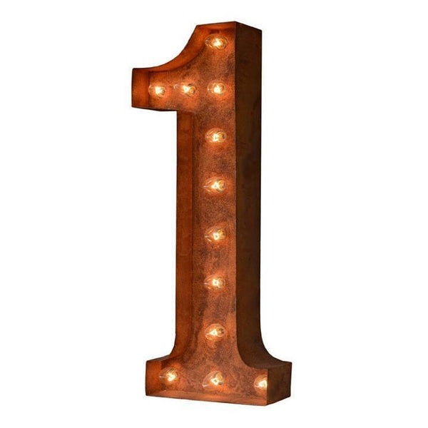 "24"" Number Marquee Lights - 24"" Number 1 (One) Sign Vintage Marquee Lights"