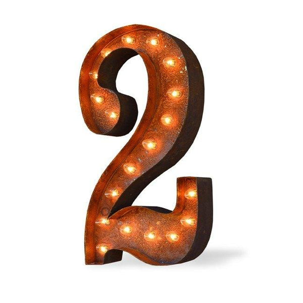 "24"" Number Marquee Lights - 24"" Number 2 (Two) Sign Vintage Marquee Lights"