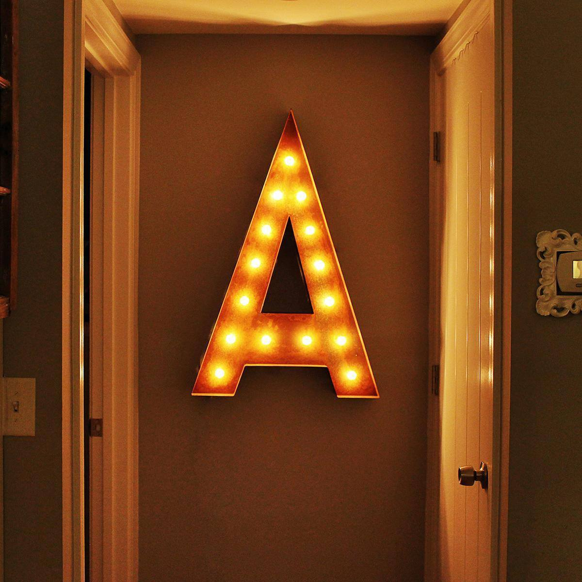 "Tin Letters With Lights Mesmerizing 36"" Letter A Lighted Vintage Marquee Letters Rustic  Buy Inspiration"