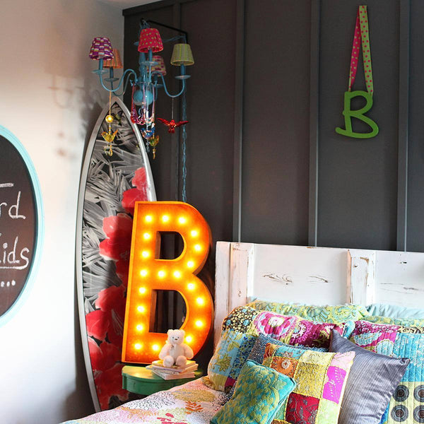 "36"" Marquee Letter Lights - 36"" Letter B Lighted Vintage Marquee Letters (Rustic)"