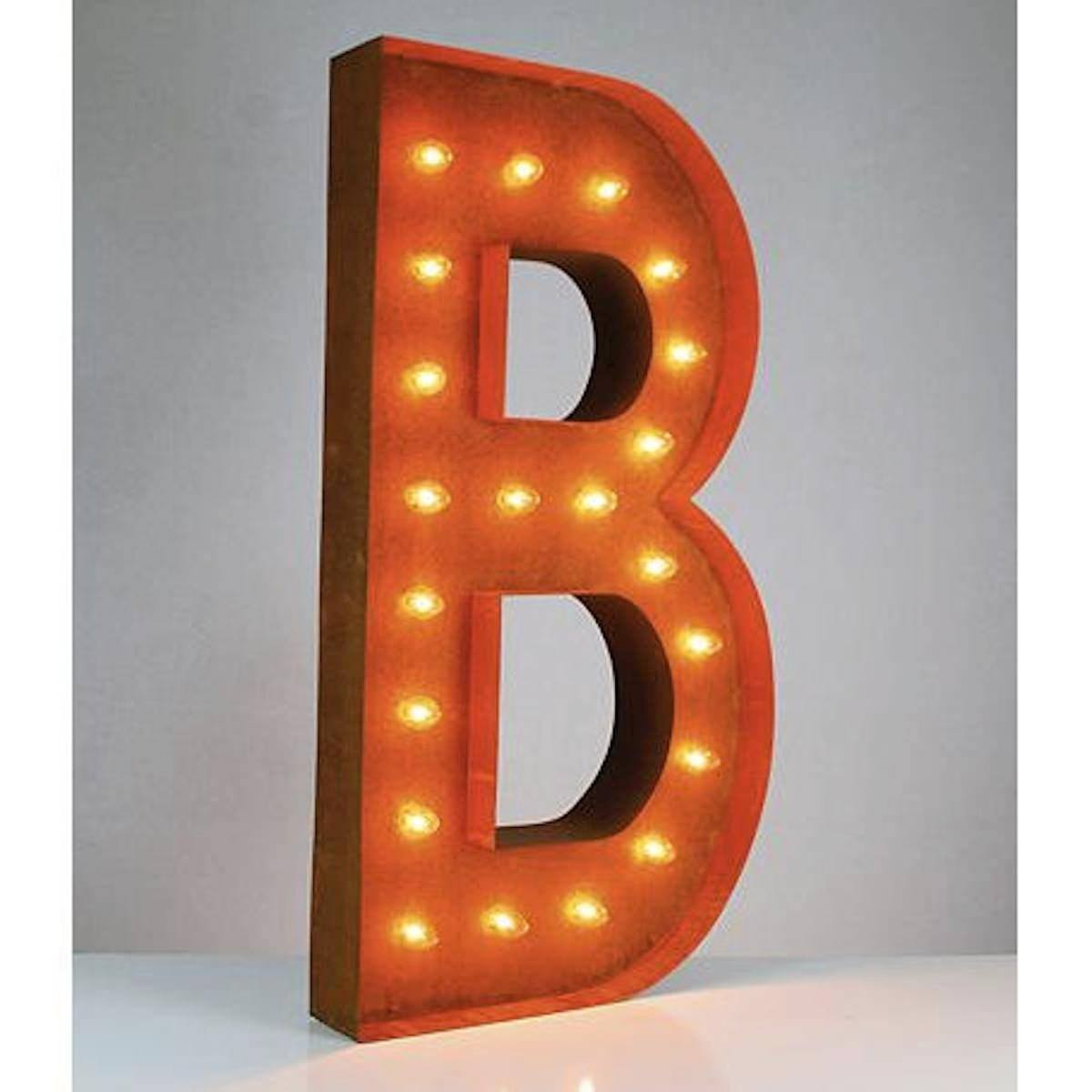 36 letter b lighted vintage marquee letters rustic for Large vintage marquee letters