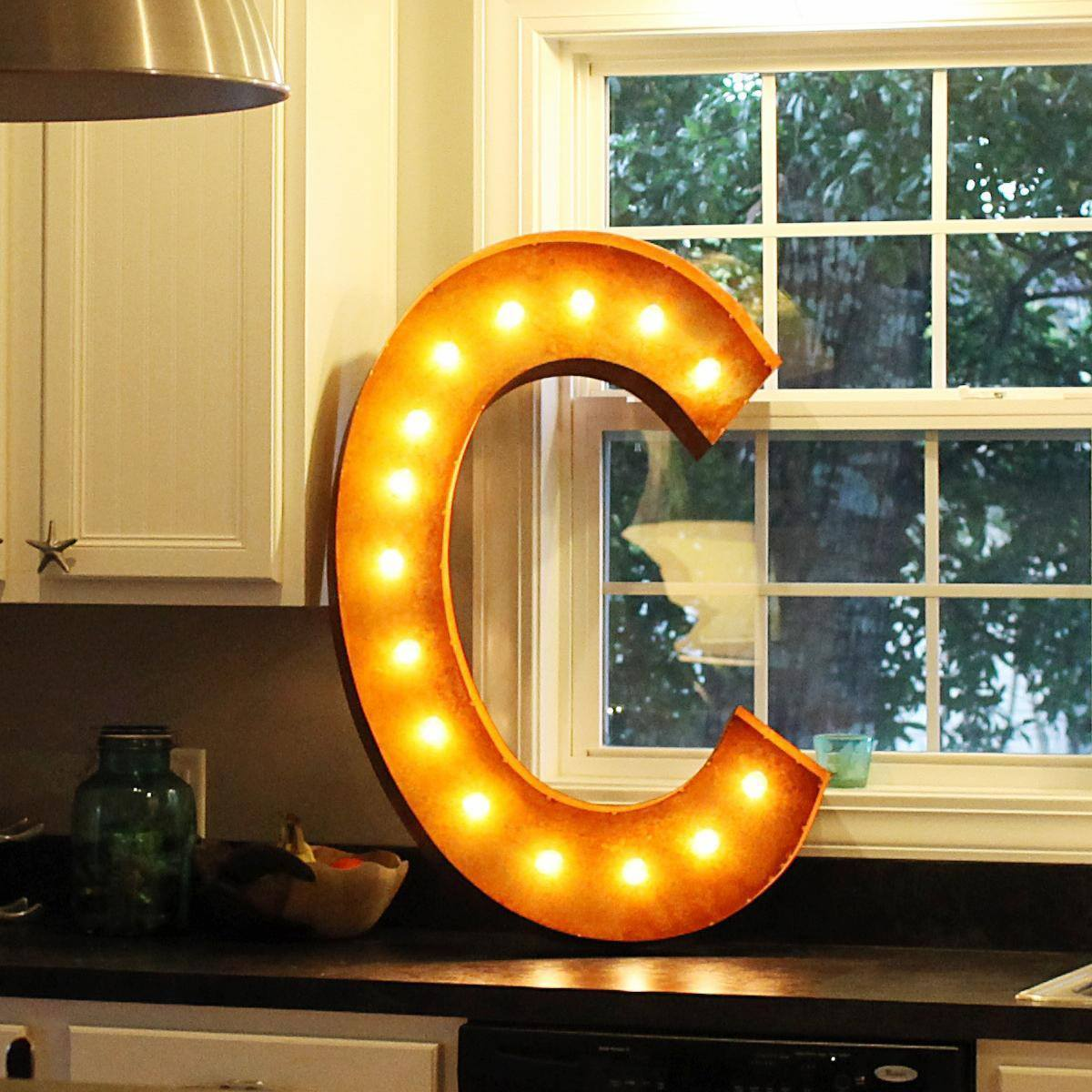 """36"""" Letter C Lighted Vintage Marquee Letters (Rustic"""