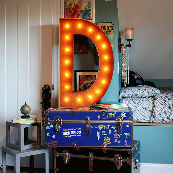 "36"" Marquee Letter Lights - 36"" Letter D Lighted Vintage Marquee Letters (Rustic)"